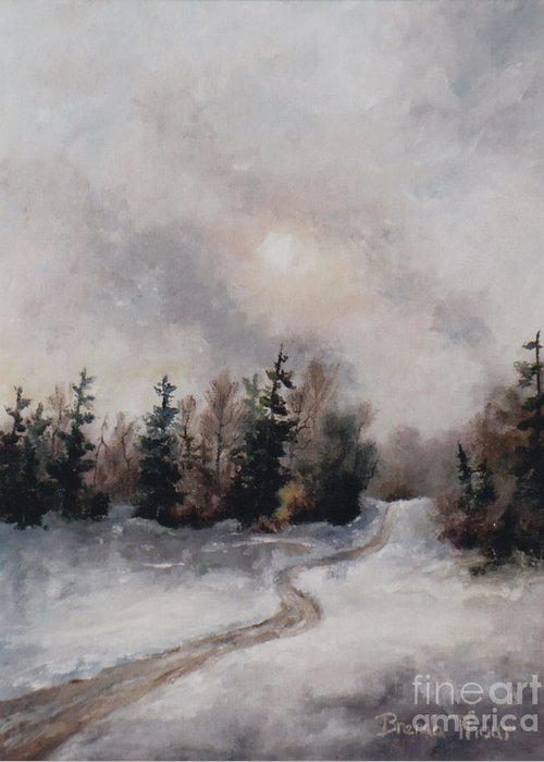 Winter Greeting Card featuring the painting Winters Sunset by Brenda Thour