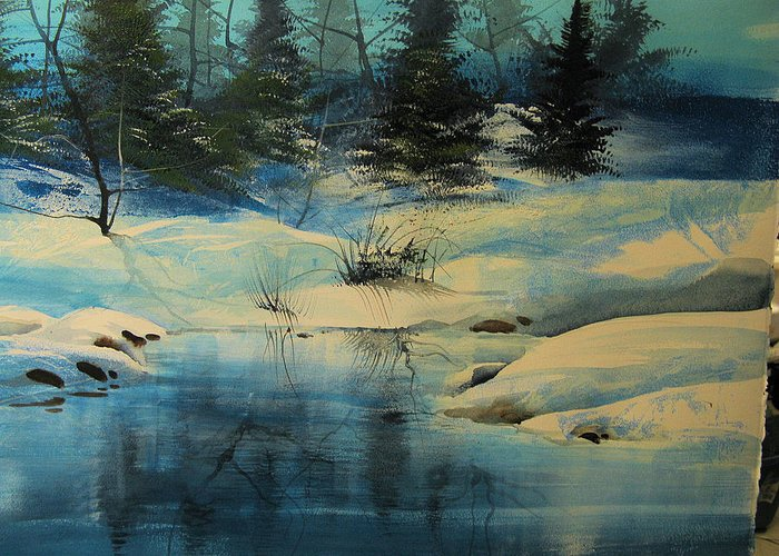 Landscape Greeting Card featuring the painting Winterscape by Robert Carver