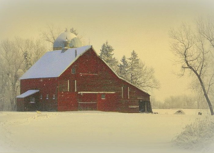 Barn Greeting Card featuring the photograph Wintery Barn by Julie Lueders