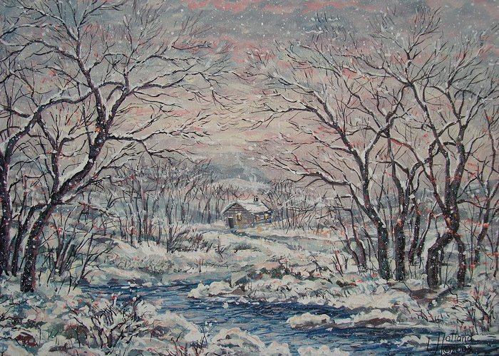 Landscape Greeting Card featuring the painting Wintery December by Leonard Holland