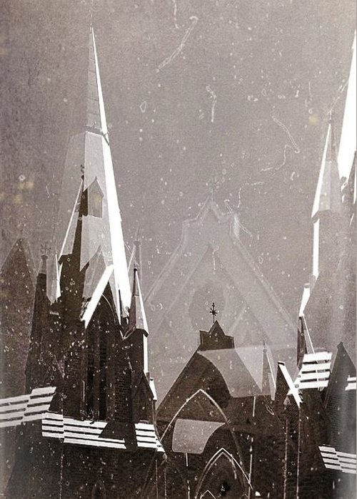 Church Greeting Card featuring the photograph Wintry Church by AlyZen Moonshadow