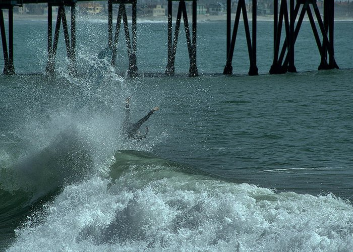 Ventura Greeting Card featuring the photograph Wipeout by Michael Gordon