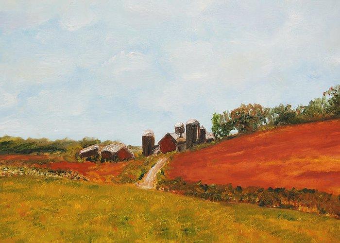 Konkol Greeting Card featuring the painting Wisconsin Farm by Lisa Konkol