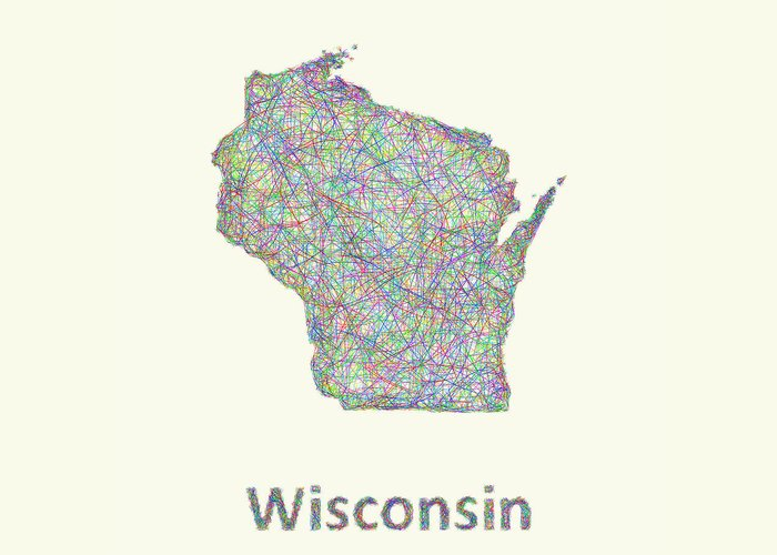 Wisconsin Map Greeting Card featuring the digital art Wisconsin Line Art Map by David Zydd