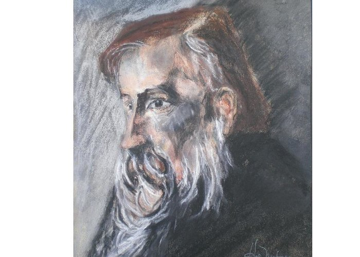 Portrait Of A Man Greeting Card featuring the pastel Wise Man by Hal Newhouser