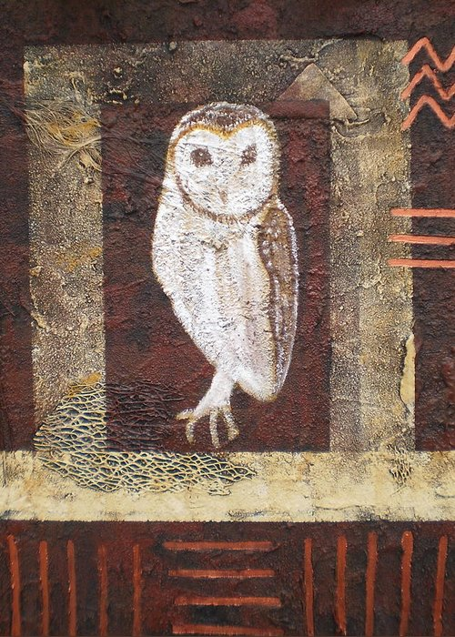 Owl Greeting Card featuring the painting Wise One by Shirley anne Dunne