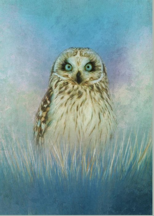 Art Greeting Card featuring the mixed media Wise Owl by Amanda Lakey