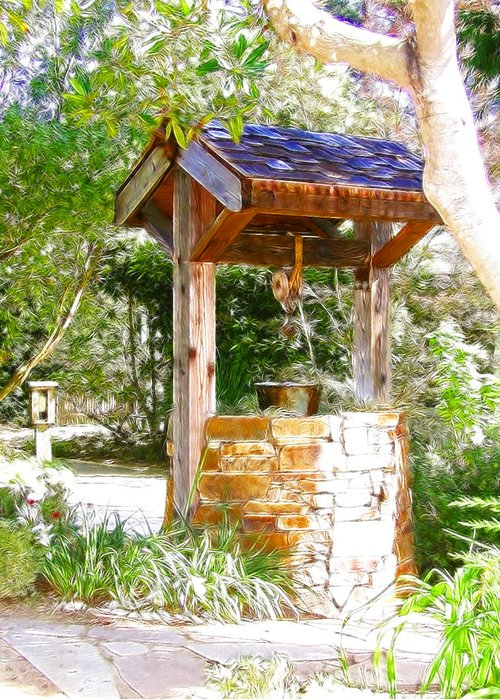Well Greeting Card featuring the photograph Wishing Well Cambria Pines Lodge by Arline Wagner