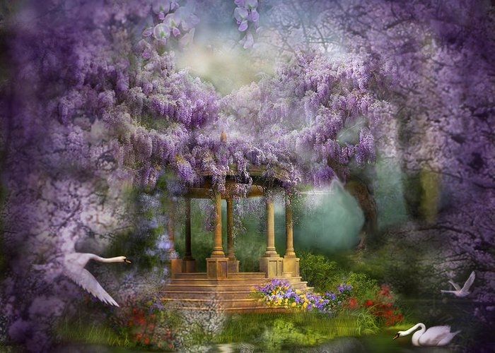 Wisteria Greeting Card featuring the mixed media Wisteria Lake by Carol Cavalaris