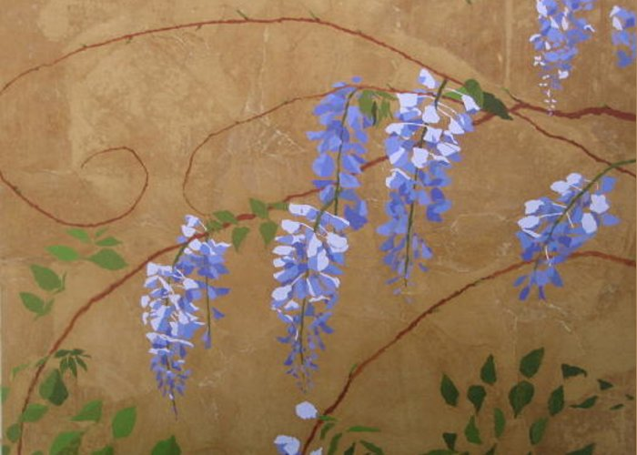 Periwinkle Wisteria Flowers Greeting Card featuring the painting Wisteria by Leah Tomaino