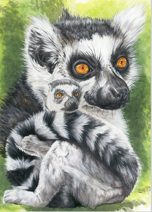 Lemur Greeting Card featuring the mixed media Wistful by Barbara Keith