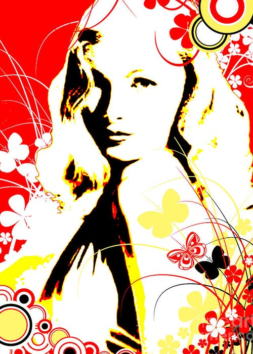 Nostalgic Seduction Greeting Card featuring the digital art Wistful Flutter by Chris Andruskiewicz