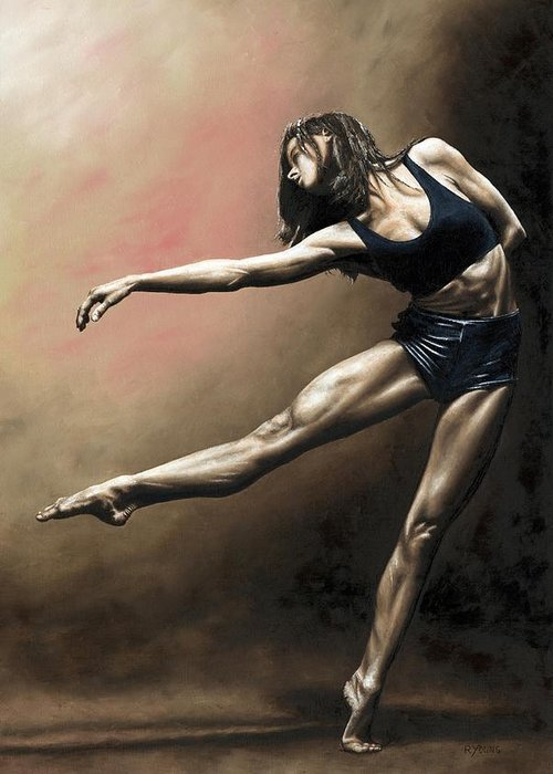 Dancer Greeting Card featuring the painting With Strength And Grace by Richard Young