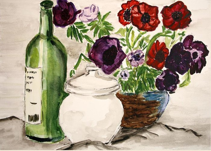 Watercolor Painting Flowers Wine Greeting Card featuring the painting Without Words. by Shlomo Zangilevitch