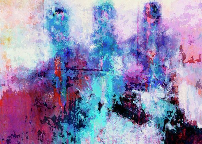 Abstract Greeting Card featuring the painting Witnesses by Dominic Piperata