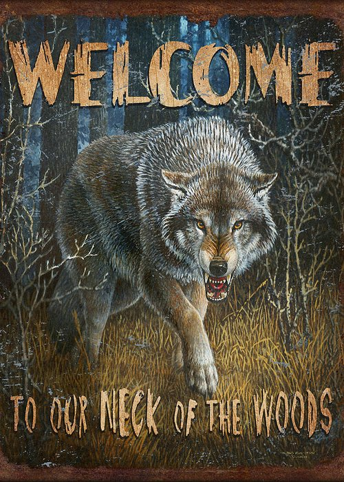 Wildlife Greeting Card featuring the painting Wold Neck Of The Woods by JQ Licensing