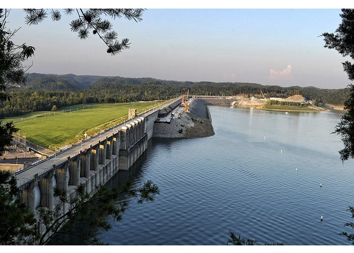 Wolf Greeting Card featuring the photograph Wolf Creek Dam by Amber Flowers