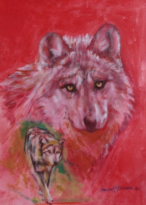 Bbkexperi Greeting Card featuring the painting Wolf by Howard Stroman
