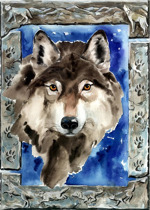 Wolf Greeting Card featuring the painting Wolf by Nadi Spencer