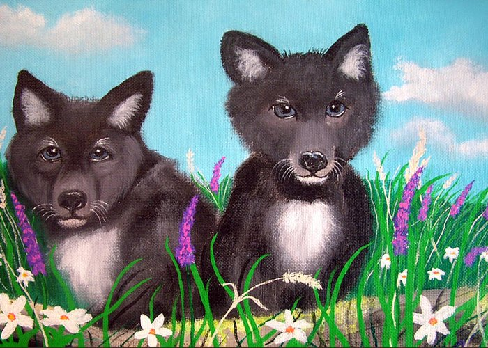 Wolf Greeting Card featuring the painting Wolf Pups by Nick Gustafson