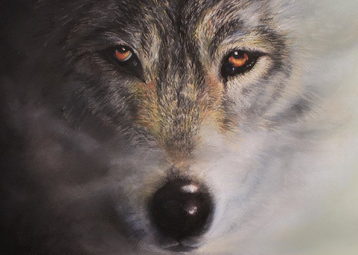 Wolf Greeting Card featuring the painting Wolfrick by Linda Woodward