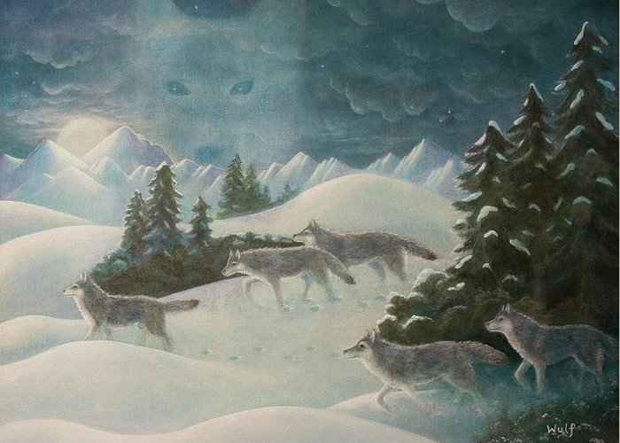Wolf Pack Greeting Card featuring the painting Wolfspirit by Bernadette Wulf