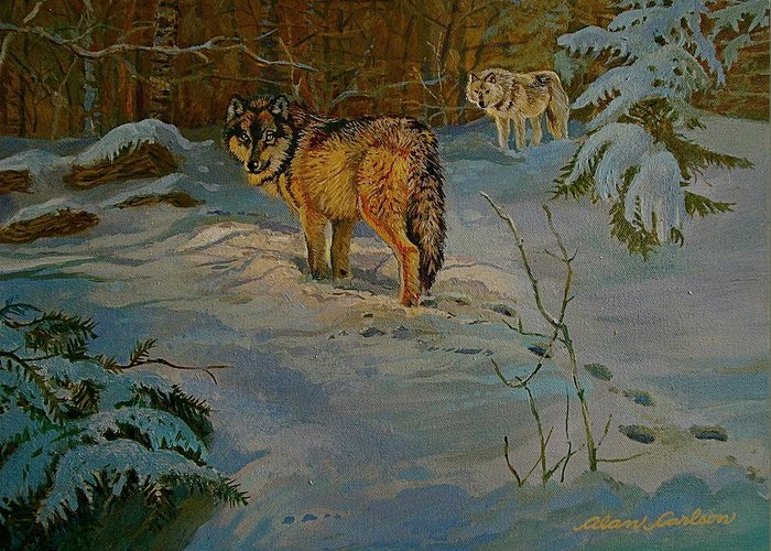 Wolves Greeting Card featuring the painting Wolves Of Maine by Alan Carlson