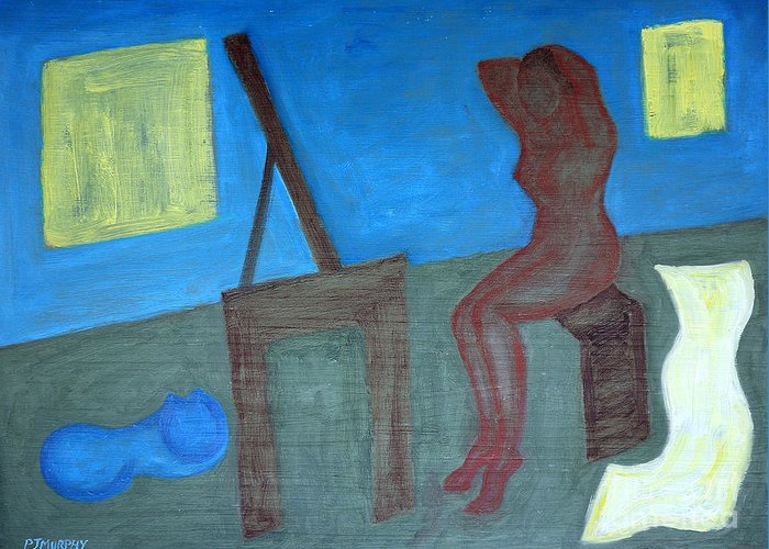 Bedroom Greeting Card featuring the painting Woman After Bathing by Patrick J Murphy