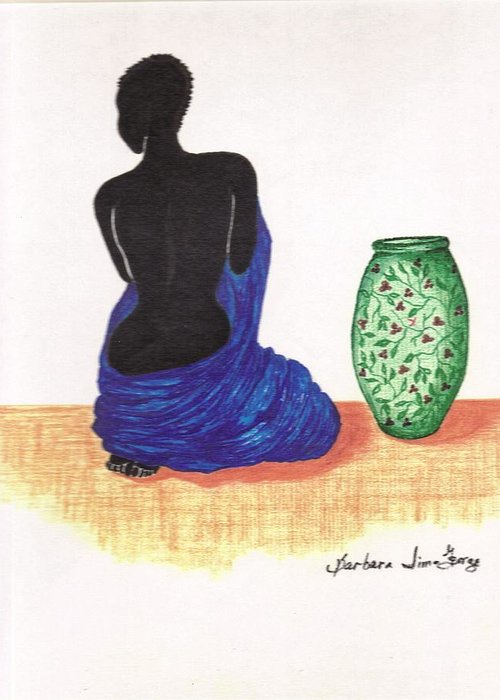 Greeting Card featuring the drawing Woman And A Ginger Jar by Bee Jay