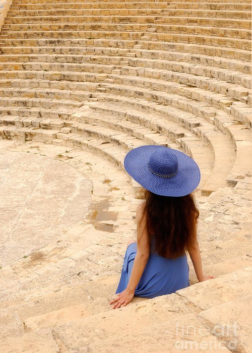 Cyprus Greeting Card featuring the photograph Woman At Greco-roman Theatre At Kourion Archaeological Site In C by Oleksiy Maksymenko