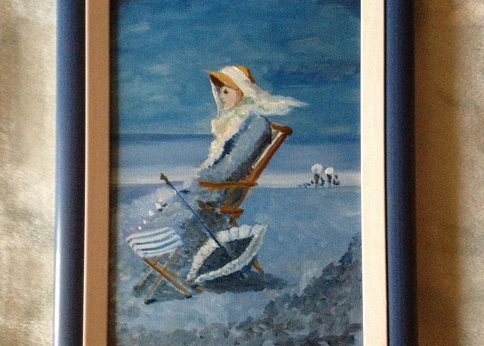 Woman At The Beach Grigorescu Blue Chair Umbrella Xixth Century Greeting Card featuring the painting Woman At The Beach by Costin Tudor