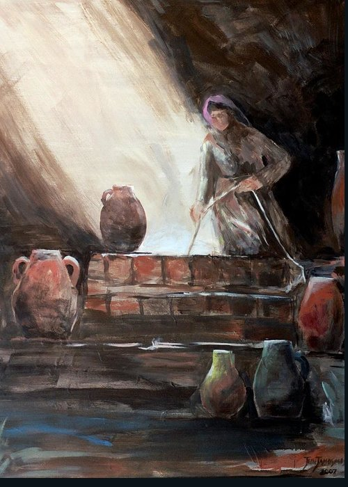 Woman Greeting Card featuring the painting Woman At The Well by Jun Jamosmos