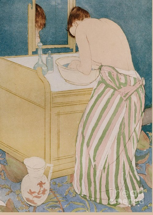 Woman Bathing Greeting Card featuring the painting Woman Bathing by Mary Stevenson Cassatt