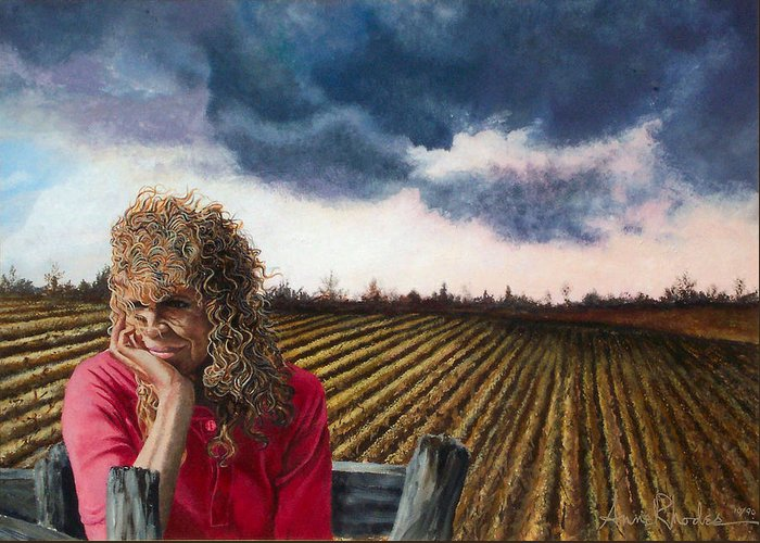 Landscape Greeting Card featuring the painting Woman By A Plowed Field by Anne Rhodes