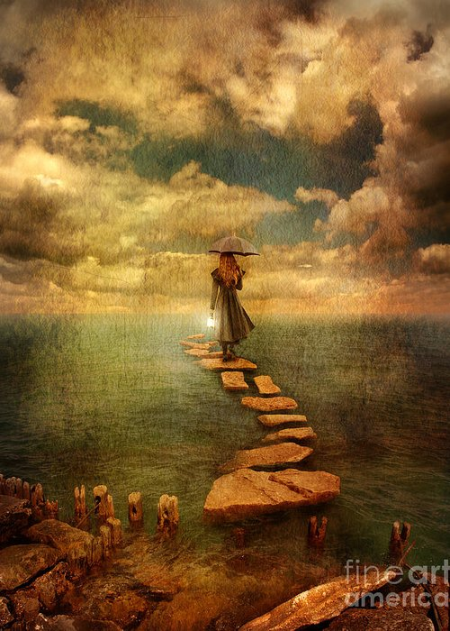Woman Greeting Card featuring the photograph Woman Crossing The Sea On Stepping Stones by Jill Battaglia