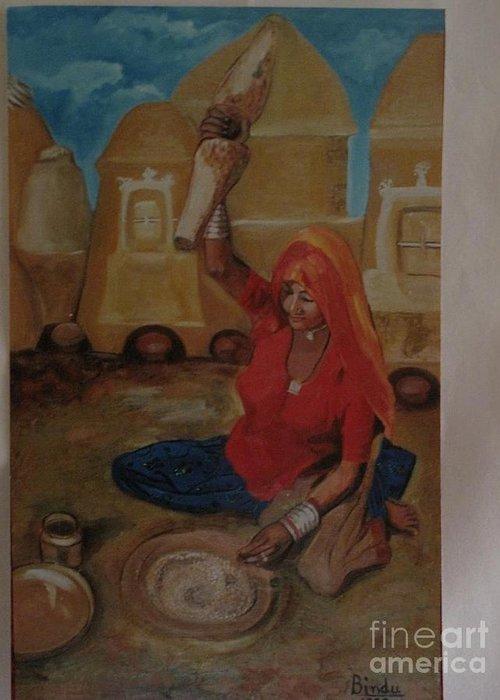 Village Greeting Card featuring the painting Woman Grinding by Bindu Bajaj