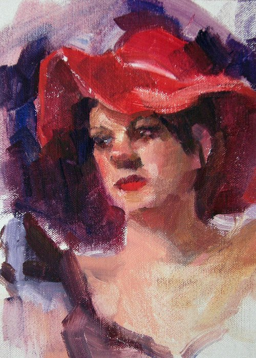 Portrait Greeting Card featuring the painting Woman In A Floppy Red Hat by Merle Keller