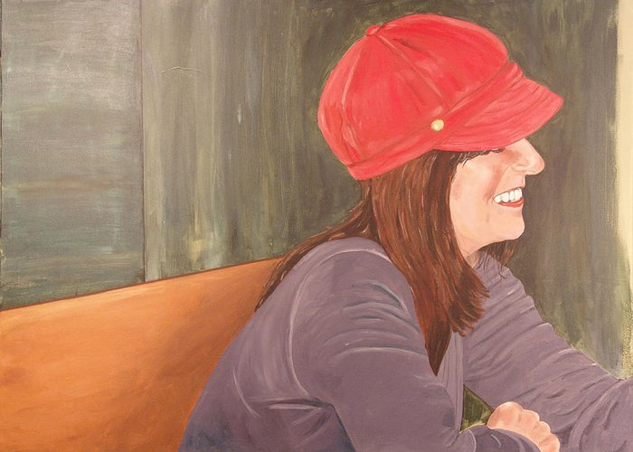 Woman Greeting Card featuring the painting Woman In A Red Cap by Kevin Callahan