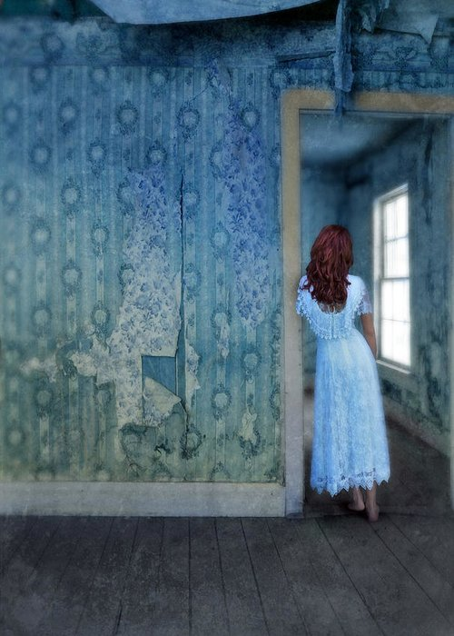 Woman Greeting Card featuring the photograph Woman In Abandoned House by Jill Battaglia
