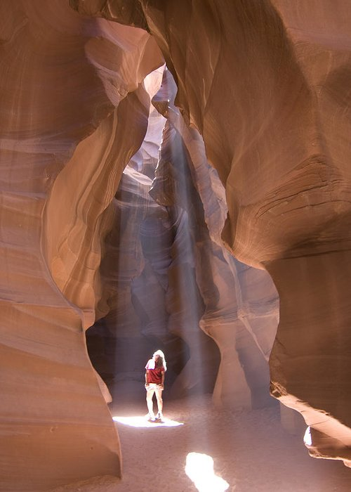 Canyon Greeting Card featuring the photograph Woman In Antelope Canyon by Carl Purcell