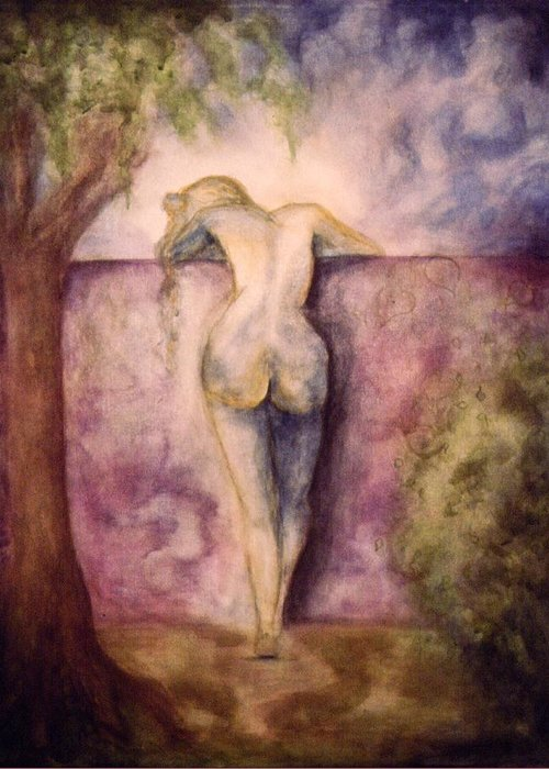 Figure Greeting Card featuring the painting Woman In The Garden 2 by Halle Treanor