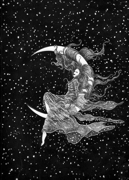 Moon Space Art Stars Bruce Lennon Art Greeting Card featuring the painting Woman In The Moon by Bruce Lennon