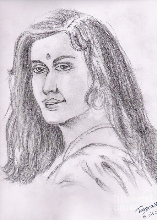 Indian Woman Drawing Greeting Card featuring the painting Woman Of India by Tanmay Singh