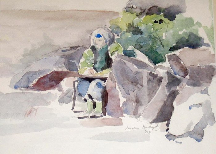 Landscape Greeting Card featuring the painting Woman Of The Rocks by Linda Berkowitz