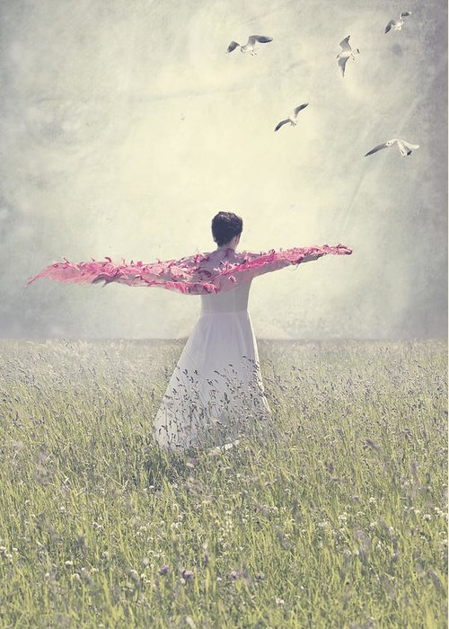Female Greeting Card featuring the photograph Woman On A Lawn by Joana Kruse