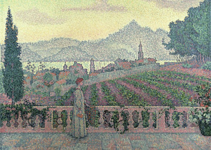 Woman Greeting Card featuring the painting Woman On The Terrace by Paul Signac