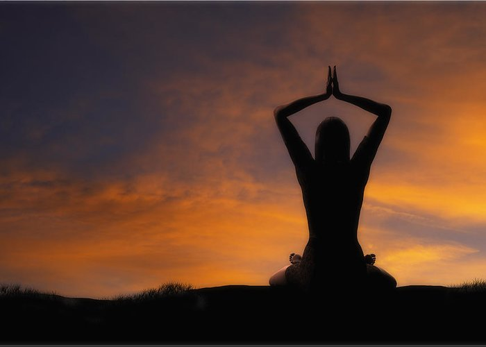 Yoga Greeting Card featuring the photograph Woman Practicing Yoga by Utah Images