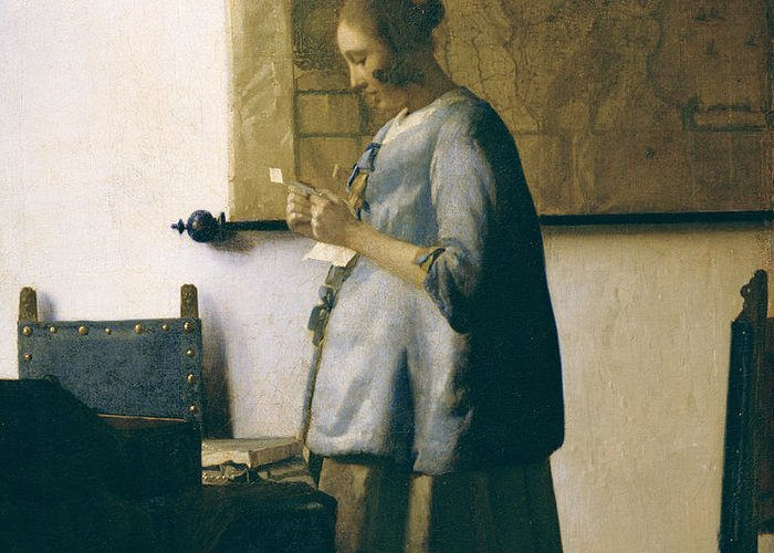 Woman Reading A Letter Greeting Card featuring the painting Woman Reading A Letter by Jan Vermeer