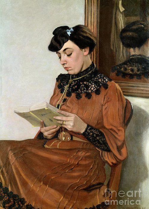 Woman Greeting Card featuring the painting Woman Reading by Felix Edouard Vallotton
