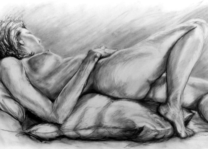 Woman Greeting Card featuring the drawing Woman Resting by John Clum